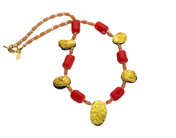 Splendid Coral and Gold Gilded Necklace, Jewelry, Necklace, gilded jewelry, coral necklace, gilded tektite stone, 23 karat gold leaf, gilded gold, Jan Maitland gilded jewelry designs, oregon artist