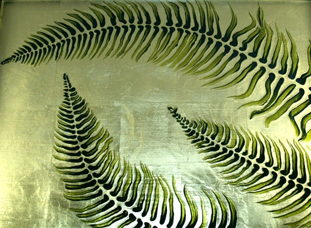 Garden Fern Table Top  Verre Eglomisé
