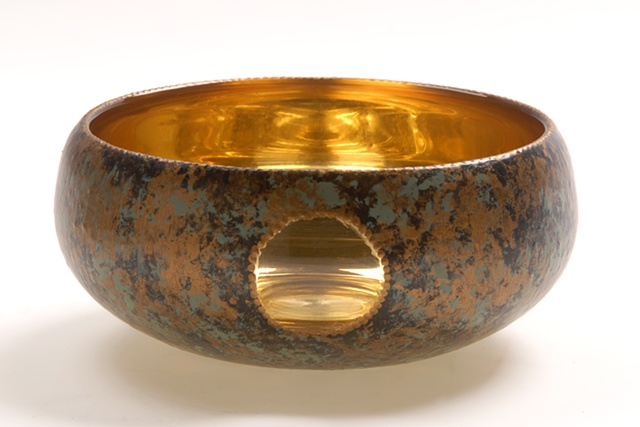 "eglomise, Reverse painting and gilding on glass, gilded glass, ""Gold Moon""glass bowl by Jan Maitland, 23-Karat Gold Leaf on glass, verre églomisé, janmaitland.com"