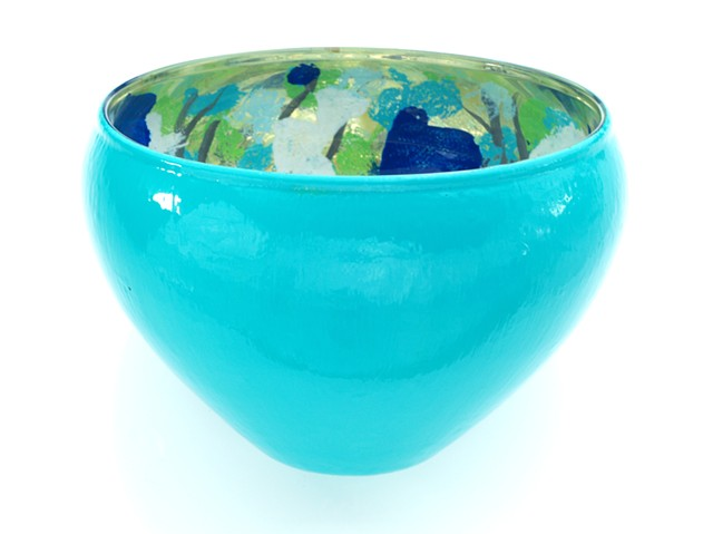 Verre églomisé bowl, aqua and gold home décor bowl, Jan Maitland, janmaitland.com, gold gilded and hand painted glass bowl, glass art,
