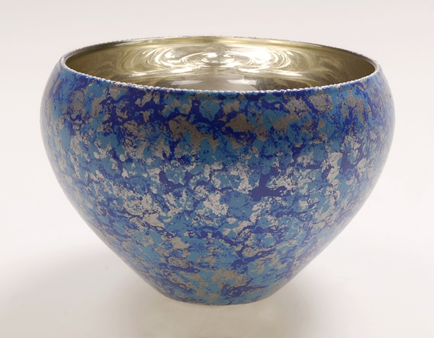 "eglomise, églomisé, Reverse painting on glass, gilded glass, ""Luna glass bowl by Jan Maitland, White Gold Leaf on glass, Hand Painted glass, verre églomisé, blue and silver glass bowl, home decor, glass art"