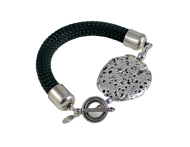 """Silver Volcano""  Men's Bracelet in Sterling Silver Leaf over Lava Stone and Charcoal Grey Braided Cord"