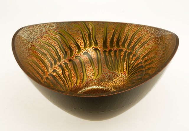 "Reverse painting on glass, eglomise, églomisé, 23K Gold Leaf and Handpainted Glass Bowl, ""Garden Fern"" by Jan Maitland, verre églomisé, home decor, glass art, gold and black glass bowl"