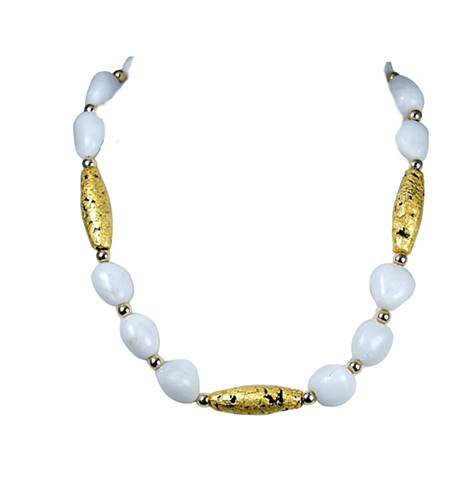 Elegance In White Aventurine and Gold Gilded Necklace, Necklace in Gold and White, 23 karat gold leaf on lava stone, white aventurine, gilded jewelry, Jan Maitland gilded jewelry designs, Oregon artist,
