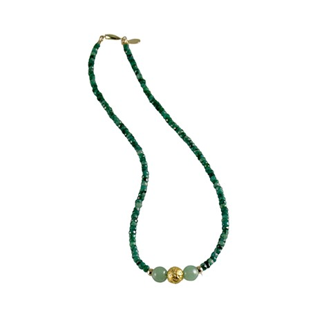 Emerald and Gold Necklace, Natural Emeralds, Jade, 23 Karat gilded gold beads, gilded jewelry, gold and green necklace, emeralds gold jade necklace jan maitland