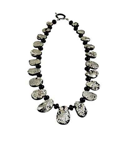 In the Moonlight Onyx and White Gold Gilded Tektite Necklace, gilded jewelry, gilded white gold on tektite necklace, white gold and black tektite necklace, statement necklace, jan maitland jewelry,
