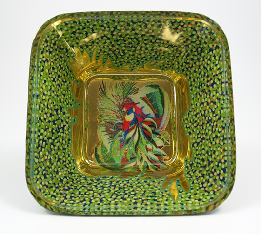 "eglomise, janmaitland, églomisé, Reverse painting on glass, gilded glass, ""Parrots""glass bowl by Jan Maitland,, 23K Gold Leaf, hand painted, home decor, glass art, janmaitland.com"
