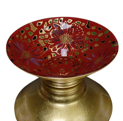 eglomise, Reverse painting on glass, gilded glass, glass bowl by Jan Maitland, 23K Gold Leaf, hand painted glass bowl, verre églomisé, gold and red glass bowl, janmaitland.com