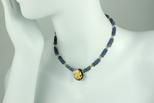 Tanzanite and gold gilded Necklace, Gilded tektite Jewelry, gold leaf, purple blue stone, fine jewelry, Jan Maitland designs, janmaitland.com