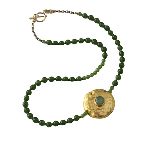 Jade and Gold Brooch Necklace, Faceted Jade and Gold Brooch Necklace with Cabochon Bezel, 23 Karat Gold Leaf on Flat Round Lava Stone, Gold Toggle Clasp, 18 Inches, gold and green, st patricks day, Easter jewelry, elegant statement, Jan Maitland,