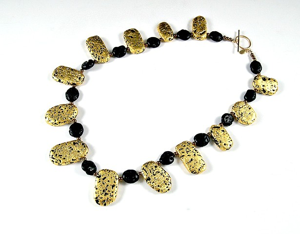 Sunflower Gold and Black Lava Necklace, gold gilded Jewelry, 23-Karat Gold Leaf on lava stone, Necklace, wearable art, gilded, lava stone, Jan Maitland
