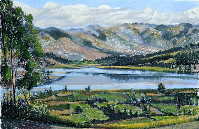 "Fine Art Giclee Print, Andes Mountains, Lake, Landscape, Pastel Painting By Jan Maitland, Archival Print, 8"" X 10"", Signed by the Artist, Mountain Lake Landscape pastel painting, clouds over reflected lake water, blue lake Mountains and sky, janmaitland.c"