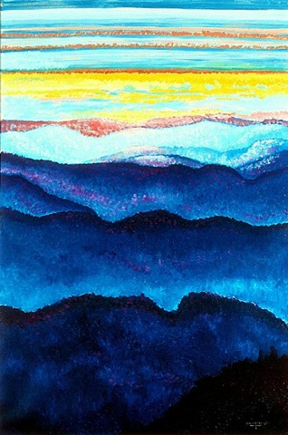 Northwest mountains Fine Art Print, Sky, Cascade Mountains, Giclee Print, Oil Painting By Jan Maitland, Landscape, Blue, Gold, Pink, Archival Print, janmaitland.com