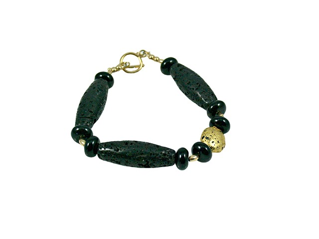 One For The Show Black lava and Gold Bracelet, Onyx, Volcanic stone, Bracelet in 23-Karat Gold Leaf, Black Lava, Gold and Onyx