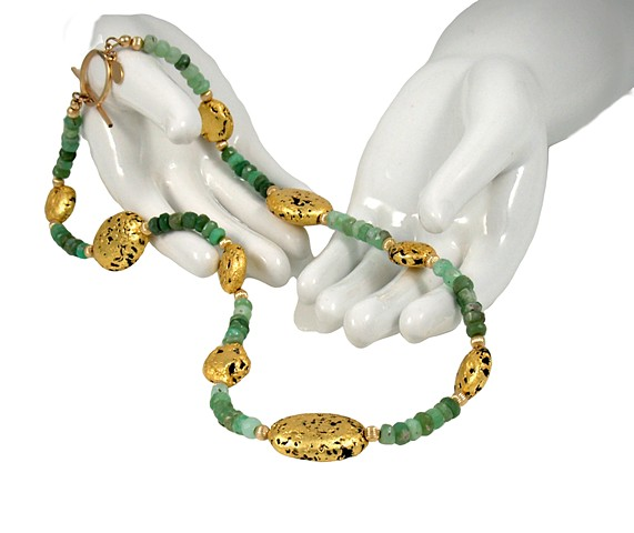 Spring Medley Chrysoprase and Gold Necklace, Jan Maitland, Jewelry, 23-Karat Gold, Gold Leaf,  One of a Kind, gilded lava Jewelry