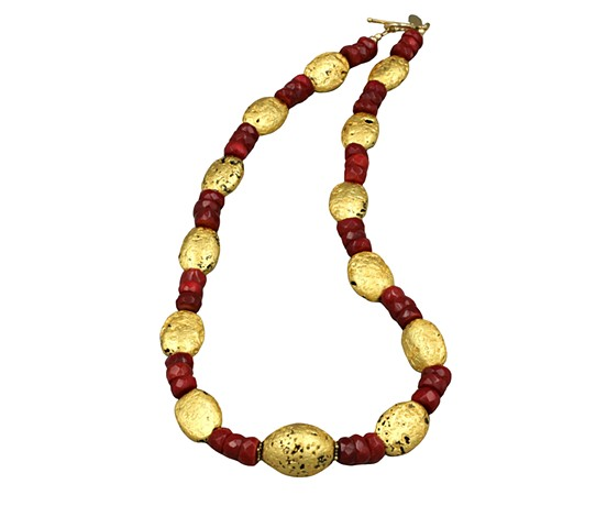 "Perfect Harmony Red Coral and Gold Necklace, Gold and Coral Necklace, Gilded Stone, 23-karat, 18"" Necklace"