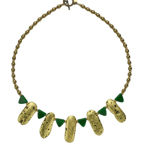 Desire Green Czech Glass and Gold Necklace, five gold pendants necklace with green Czech glass, gilded Jewelry, 23 Karat Gold Leaf on stone, gilded Necklace, wearable art, hand gilded, lava stone jewelry, necklace in 23 Karat Gold Leaf on Lava Stone with