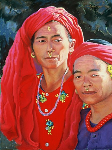 pastel painting of Nepalese women in red by artist Jan Maitland, janmaitland.com, pastel artist Jan Maitland,
