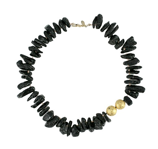 Solar eclipse necklace, tektite, 23 karat gold leaf, lava stone, gilded jewelry, Oregon Artist, Jan Maitland, Jan Maitland jewelry