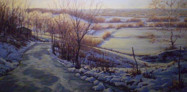 impressionist landscape painting show scene missouri