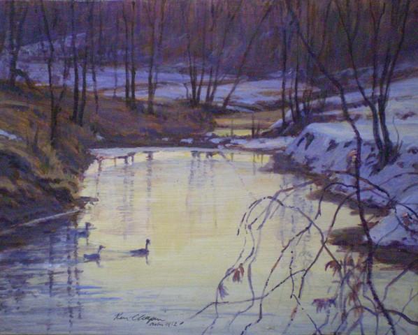 impressionistic landscape painting snow scene little blue river