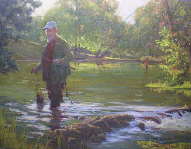 Impressionist Landscape Painting with Fisherman