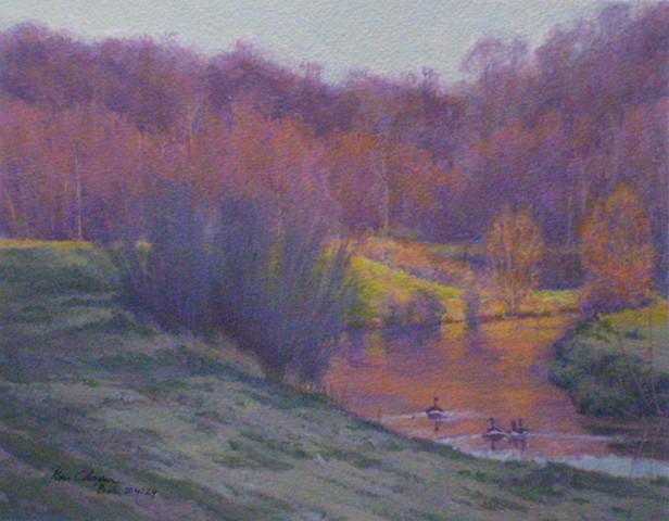 Impressionist Landscape Painting Little Blue Trace Park