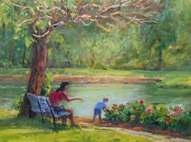 plein air oil painting impressionist overland park arboretum