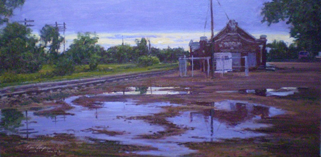 impressionist plein air landscape painting Strong City Kansas Depot