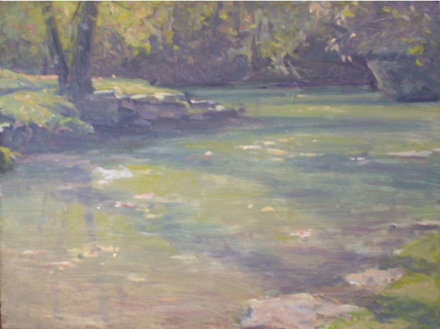 plein air painting of Dogwood Canyon in southwest Missouri