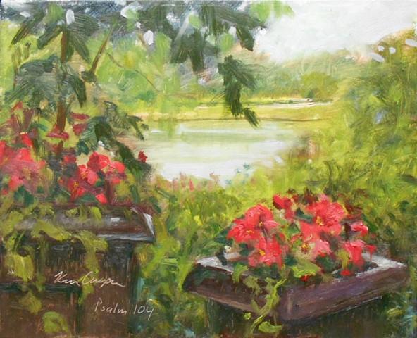 plein air impressionist landscape painting overland park arboretum