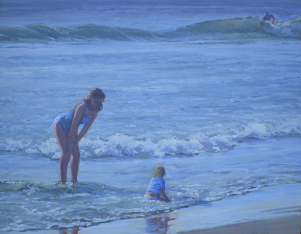 Impressionist Seascape Painting Mother and Child