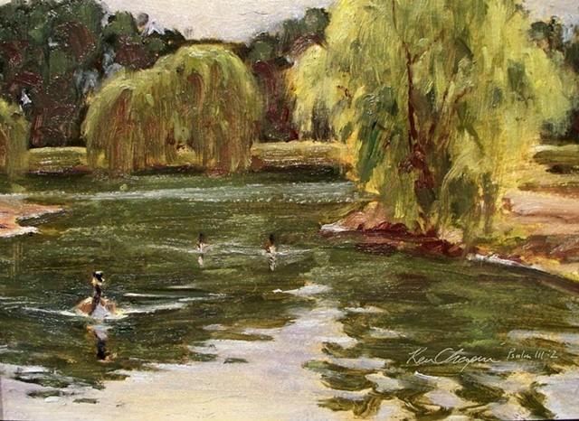painting landscape wildlife plein air oil