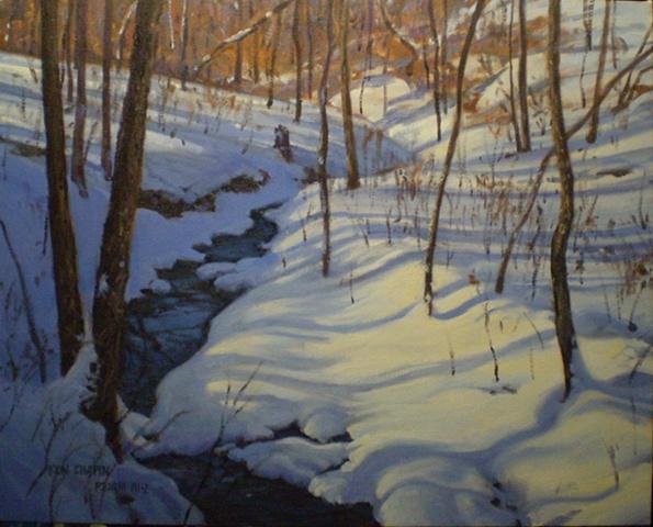 Impressionist Landscape Painting Snow Missouri Ken Chapin