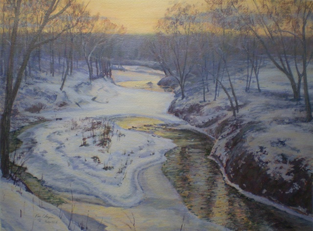 Impressionist Winter Landscape Painting Missouri