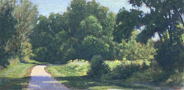 plein air painting, gouache painting, Little Blue Trace Trail