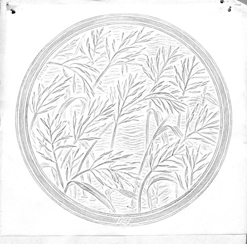 Wild Rice rubbing from the original carving/pattern for the Minneapolis manhole covers