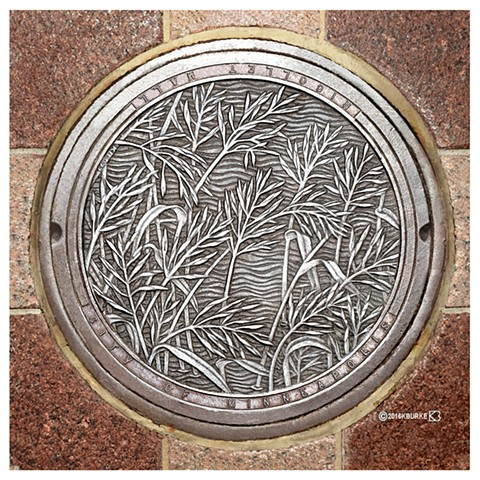 Manhole Cover on Nicollet Mall, Minneapolis MN. Commissioned by the City of Minneapolis, MN
