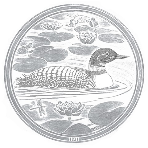 Loon rubbing from the original carving/pattern for the Minneapolis manhole covers