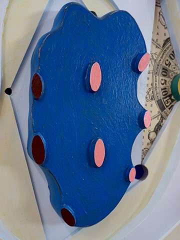 Mixed-media painted relief construction