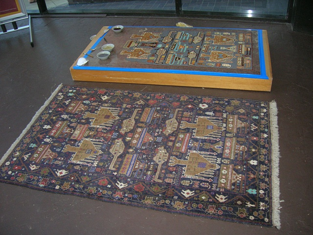 The original rug next to the installation
