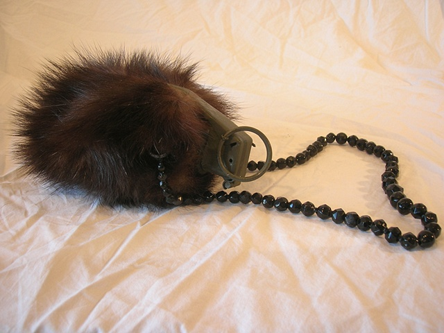 mink, glass beads, grenade
