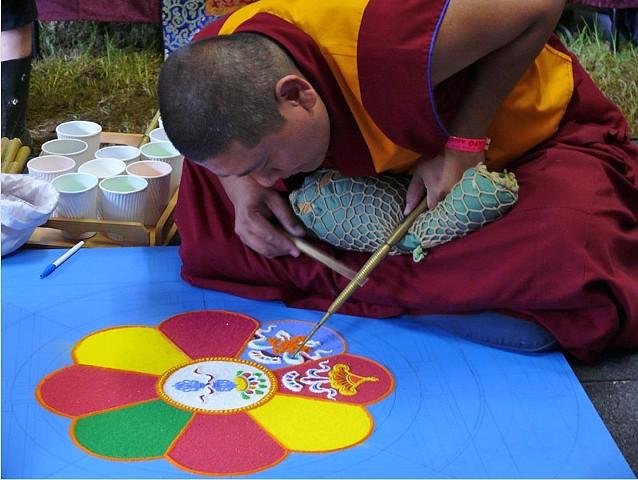 Tibetan Buddhists creating a Sand Mandala