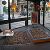 The installation in the window of the Chicago Visitors Center