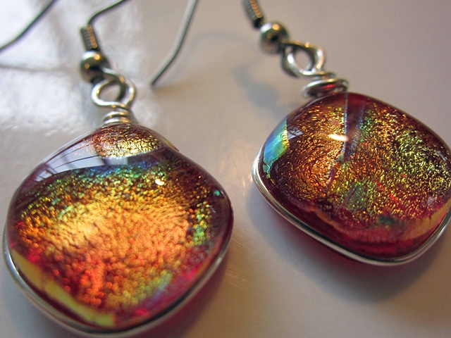 """Into the Deep"" red Earrings  details: approx. 5/8"" wide silver-wrapped with hypoallergenic ear wires"
