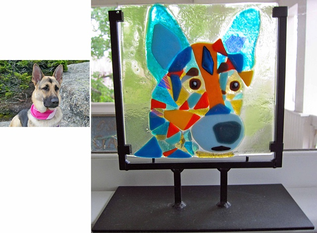 "Meet Bella...  Fused Glass 11.5 tall by 9"" (in the stand) $275.00"