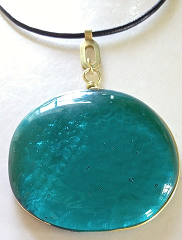 "Aqua green ""Frandangle"" necklace"