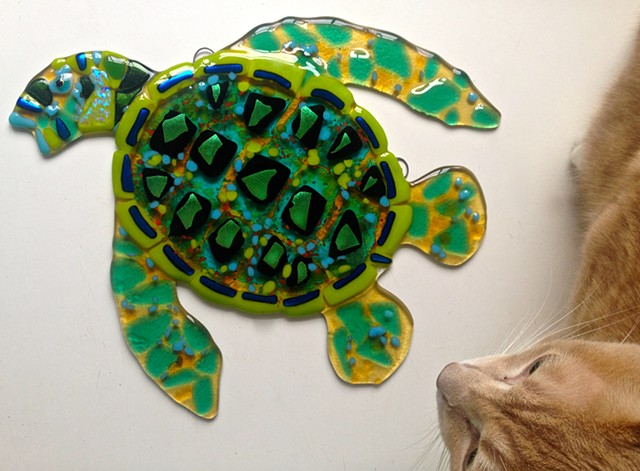 "Small green sea turtle...  details: about 12"" long x 13"" tall"