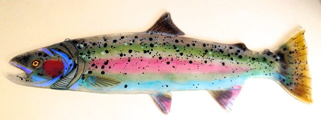 Large Steelhead Salmon...pinks and blues...