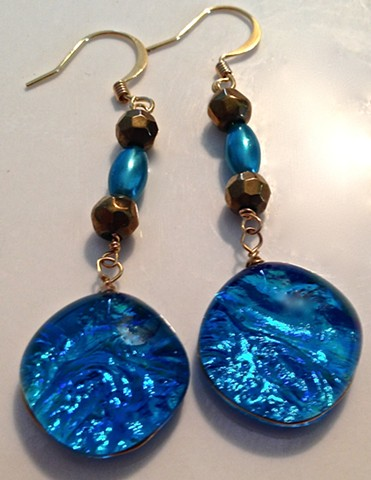 "Turquoise blue ""Dangler"" earrings..."